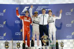 Podium: second place Kimi Raikkonen, Ferrari, Race winner Lewis Hamilton, Mercedes AMG F1, secondplace Nico Rosberg, Mercedes AMG F1
