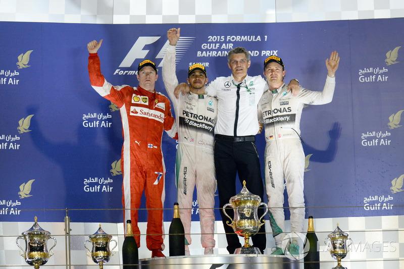 Podio: 1. Lewis Hamilton, 2. Kimi Räikkönen, 3. Nico Rosberg