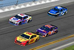Joey Logano, Team Penske Ford Fusion, Denny Hamlin, Joe Gibbs Racing Toyota, A.J. Allmendinger, JTG