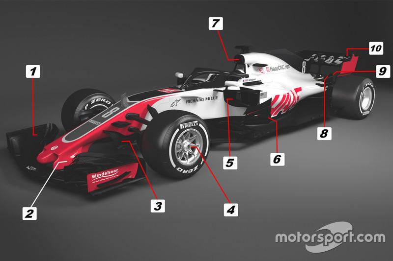 Détails de la Haas F1 Team VF-18