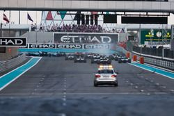 The Medical car drives in to the first corner at the start
