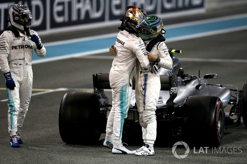 Lewis Hamilton, Mercedes-Benz F1 W08 congratulates and celebrates in parc ferme with Felipe Massa,