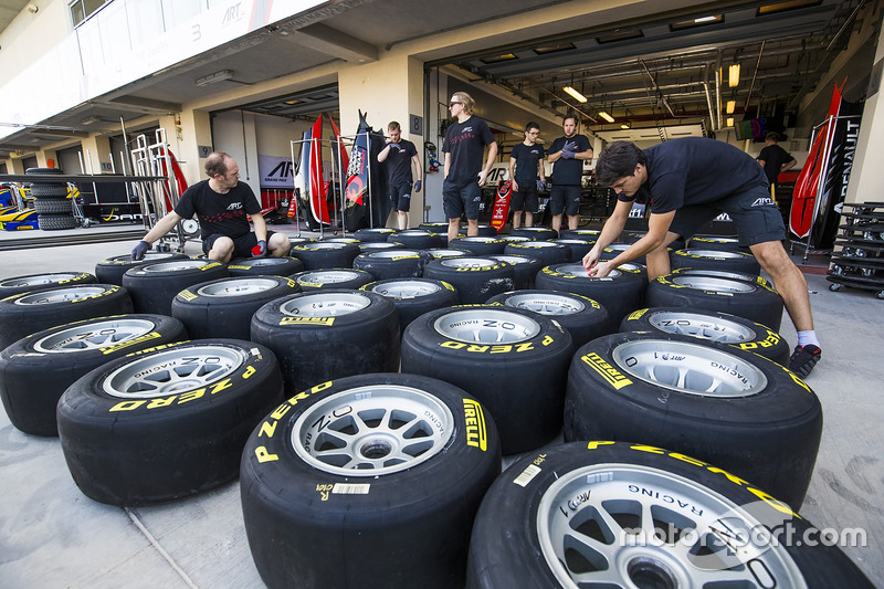 ART Grand Prix mechanics prepare Pirelli tyres