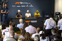 Esteban Ocon, Force India F1, Valtteri Bottas, Mercedes-AMG F1 and Carlos Sainz Jr., Renault Sport F1 Team in the Press Conference