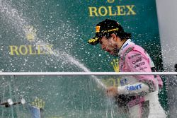 Tercero, Sergio Perez, Force India celebra