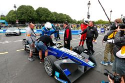 Broadcaster, TV panelist, former England international cricketer Andrew Freddie Flintoff takes the Formula E car out on track with Kevin Pietersen, former English cricketer