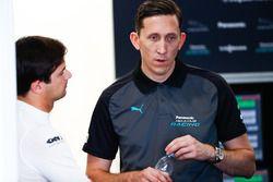 Nelson Piquet Jr., Jaguar Racing, talking to James Barclay, Team Director, Jaguar Racing