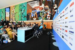 Sébastien Buemi, Renault e.Dams, Luca Filippi, NIO Formula E Team, Edoardo Mortara, Venturi Formula E Team, lors de la conférence de presse