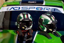 I caschi di Umberto Scandola e Guido D'Amore, Skoda Fabia R5, Daytona Race