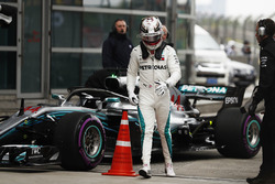 Lewis Hamilton, Mercedes AMG F1, walks away from his car in parc ferme