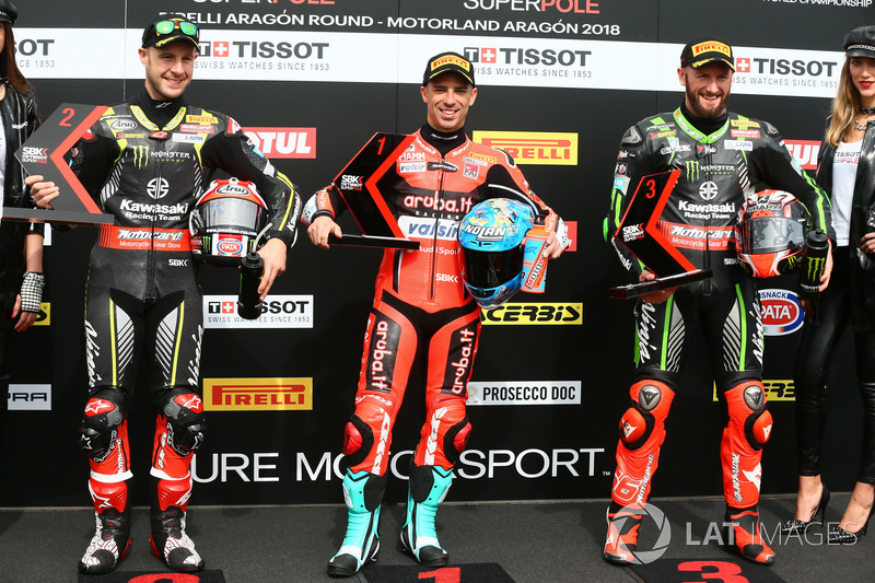 Top 3: Jonathan Rea, Kawasaki Racing, Marco Melandri, Aruba.it Racing-Ducati SBK Team, Tom Sykes, Kawasaki Racing