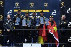 Podium Europe Pro-AM: first place Corey Lewis, Antonelli Motorsport, second place Lucas Mauron, Nicolas Gomar, AGS Events, third place Liang Jiatong, Christopher Dreyspring, VS Racing
