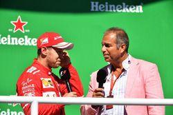 Podium: winner Sebastian Vettel, Ferrari with Kai Ebel