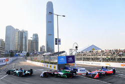 Oliver Turvey, NIO Formula E Team, leads Daniel Abt, Audi Sport ABT Schaeffler, Nick Heidfeld, Mahin