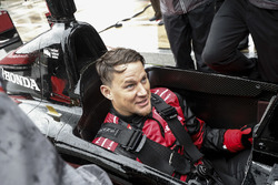 Channing Tatum prepares for his pre-race ride in the Honda 2-seat IndyCar