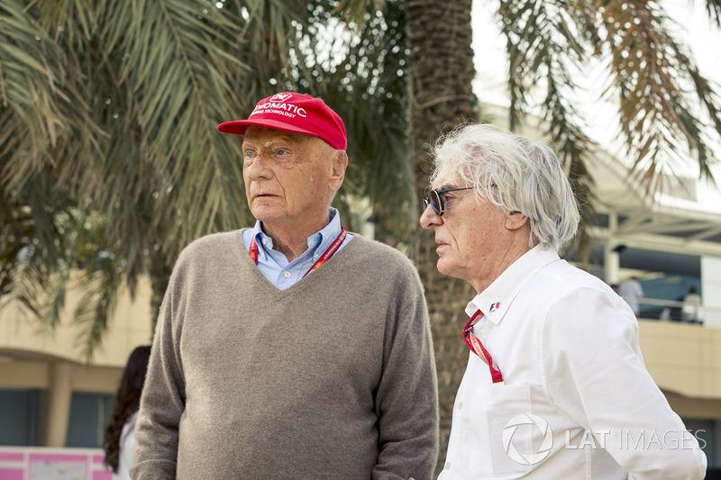 Niki Lauda, presidente non esecutivo Mercedes AMG F1 e Bernie Ecclestone