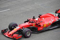 Sebastian Vettel, Ferrari SF71H celebrates pole position