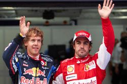 Sebastian Vettel, Red Bull Racing celebrates his pole position and Fernando Alonso, Ferrari