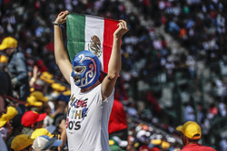 Fan with Mexican flag and wearing a wrestling mask