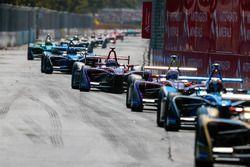 Sam Bird, DS Virgin Racing leadsAlex Lynn, DS Virgin Racing, Nicolas Prost, Renault e.Dams