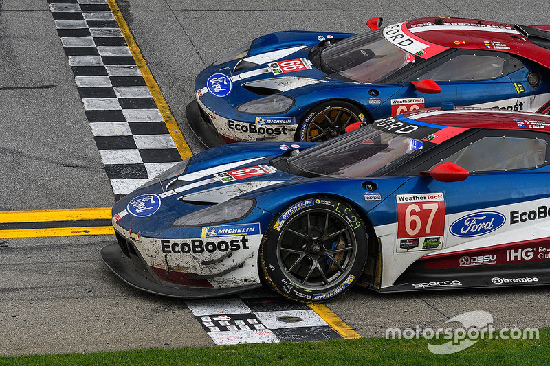 #67 Chip Ganassi Racing Ford GT, GTLM: Ryan Briscoe, Richard Westbrook, Scott Dixon, #66 Chip Ganassi Racing Ford GT, GTLM: Dirk Müller, Joey Hand, Sébastien Bourdais