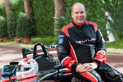 Prince Albert II drives the Venturi Formula E near the palace