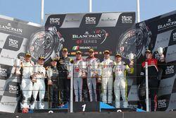 Podium main race: Winner Laurens Vanthoor, Frederic Vervisch, Audi R8 LMS, Belgian Audi Club Team WR