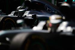 Nico Rosberg, Mercedes AMG F1 W07 Hybrid and Lewis Hamilton, Mercedes AMG F1 W07 Hybrid on the grid