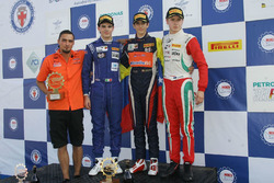 Podium Race 2: second place Raul Guzman Marchina, DR Formula; Race winner Sebastian Wahbeh Fernandez, Kfzteile24 Mucke Motorsport; third place Juri Vips, Prema Powerteam