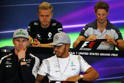 Conférence de presse de la FIA : Kevin Magnussen, Renault Sport F1 Team; Romain Grosjean, Haas F1 Team; Nico Hulkenberg, Sahara Force India F1; Lewis Hamilton, Mercedes AMG F1