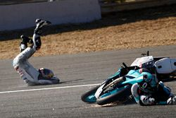 Fabio Quartararo, Leopard Racing and Jorge Martin, Aspar Team Mahindra crash