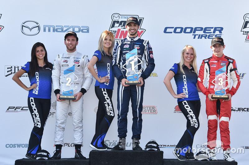 Podio: ganador de la carrera Kyle Kaiser, Juncos Racing, segundo lugar Ed Jones, Carlin, tercer lugar Zach Veach, Belardi Auto Racing