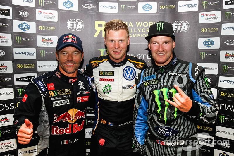 Le vainqueur Johan Kristoffersson, Volkswagen Team Sweden, Sébastien Loeb, Team Peugeot Hansen, Andreas Bakkerud, Hoonigan Racing Division