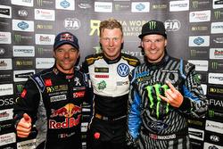 Winner Johan Kristoffersson, Volkswagen Team Sweden, Sébastien Loeb, Team Peugeot Hansen, Andreas Ba