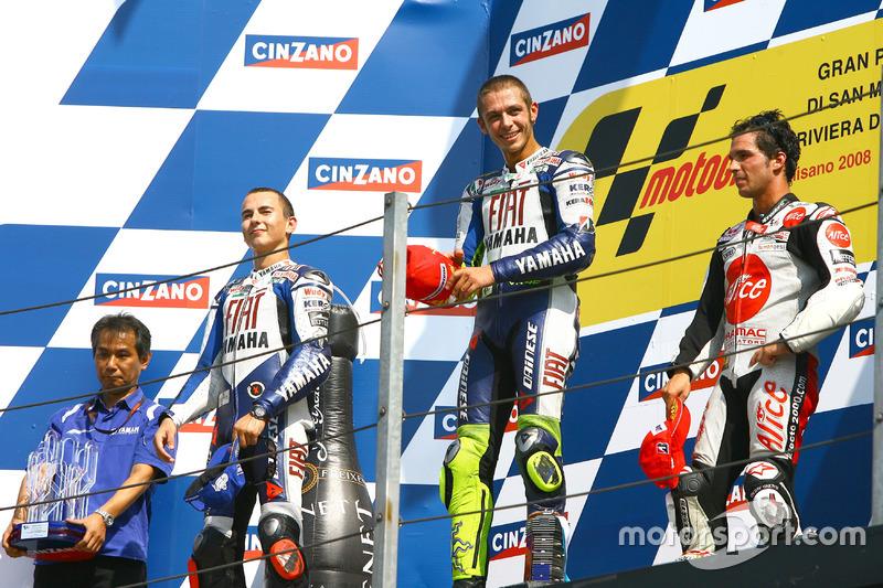 2008: 1. Valentino Rossi, 2. Jorge Lorenzo, 3. Toni Elias