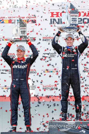 Race winner Simon Pagenaud, Team Penske Chevrolet, second place Will Power, Team Penske Chevrolet