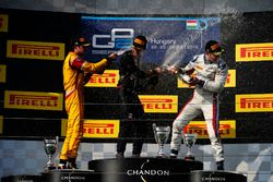 Pierre Gasly, PREMA Racing Antonio Giovinazzi, PREMA Racing and Sergey Sirotkin, ART Grand Prix on the podium