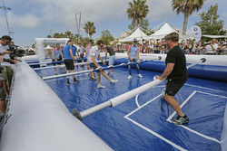 Kevin Abbring, Andreas Mikkelsen, Ott Tanak, Hayden Paddon, Jari-Matti Latvala, Sébastien Ogier, Henning Solberg are playing life-size table football