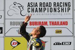 Podium race 1 SuperSports 600cc: winner Tomoyoshi Koyama
