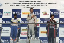 Race 2 rookie podium: Ian Rodriguez Wright, DRZ Benelli, Kush Maini, BVM Racing, Giacomo Altoè, Bhaitech Engineering