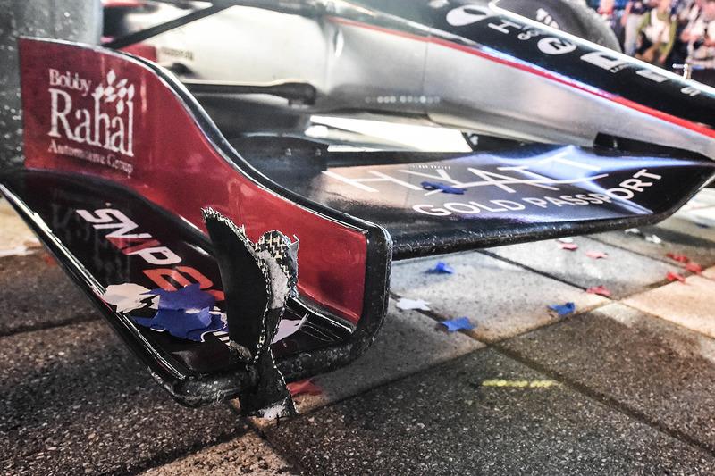 I danni sull'auto vincitrice di Graham Rahal, Rahal Letterman Lanigan Racing Honda