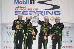 Overall podium: winners Johannes van Overbeek, Scott Sharp, Ed Brown, Pipo Derani, ESM Racing