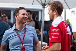 Christian Horner, Red Bull Racing Team Principal and Sebastian Vettel, Ferrari