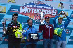Il podio della MX2: Simone Furlotti, Michele Cervellin e Giuseppe Tropepe