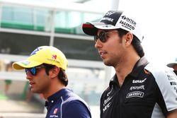 Sergio Perez, Sahara Force India F1 et Felipe Nasr, Sauber F1 Team lors de la parade des pilotes