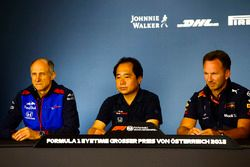 Franz Tost, Team Principal, Toro Rosso, Toyoharu Tanabe, F1 Technical Director, Honda, and Christian Horner, Team Principal, Red Bull Racing, in the Press Conference