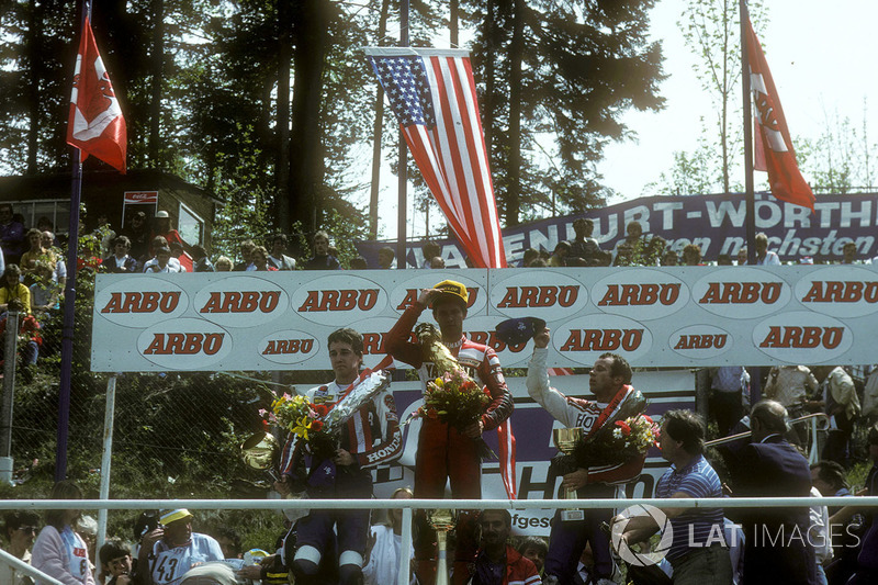 Podium: 1. Eddie Lawson; 2. Freddie Spencer; 3. Randy Mamola