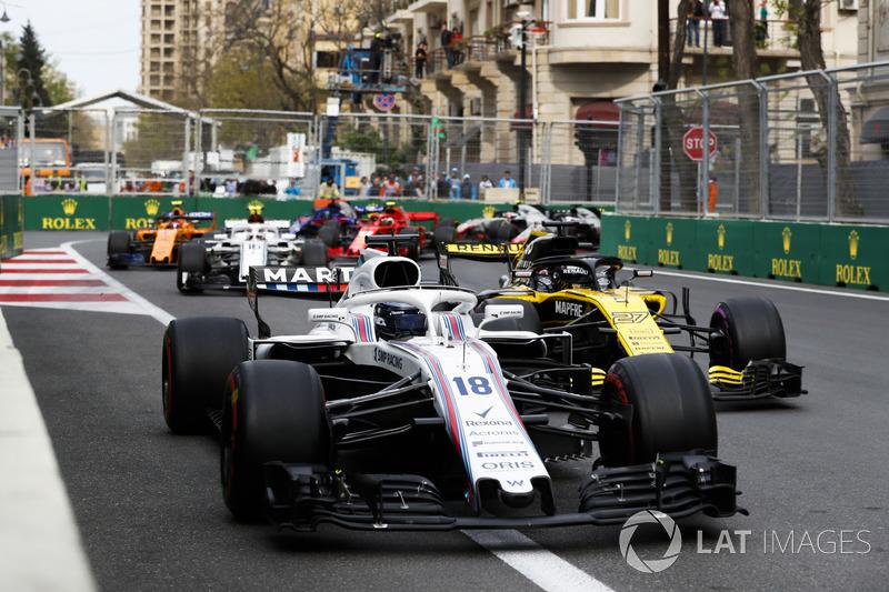 Lance Stroll, Williams FW41 Mercedes, Nico Hulkenberg, Renault Sport F1 Team R.S. 18, Charles Leclerc, Sauber C37 Ferrari, y Stoffel Vandoorne, McLaren MCL33 Renault