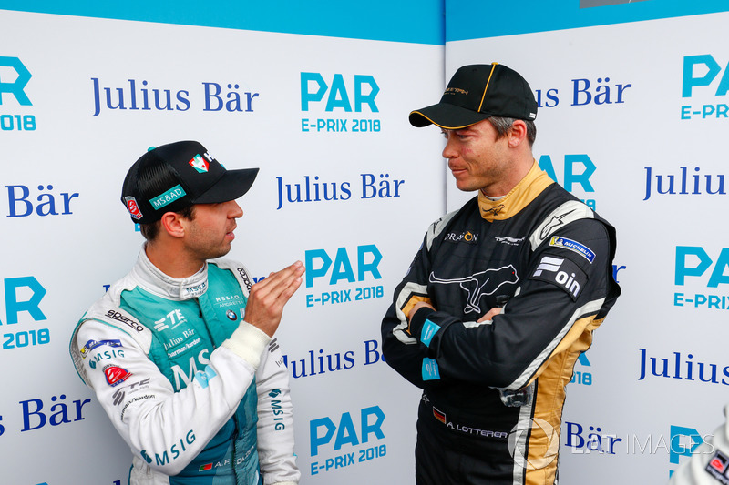 Antonio Felix da Costa, Andretti Formula E Team, talks to Andre Lotterer, Techeetah, in the media pen