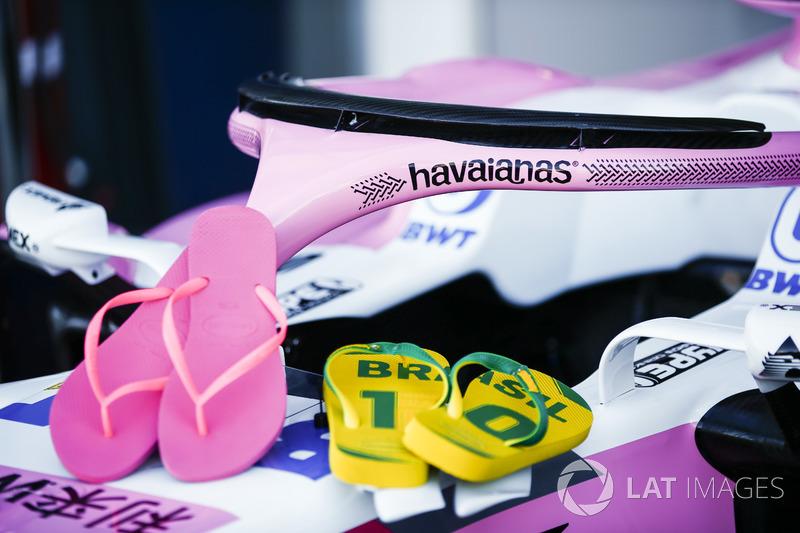 A Force India aproveitou o visual do Halo e fechou com a Havaianas